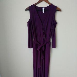 Cold shoulder faux wrap wide leg jumpsuit - purple